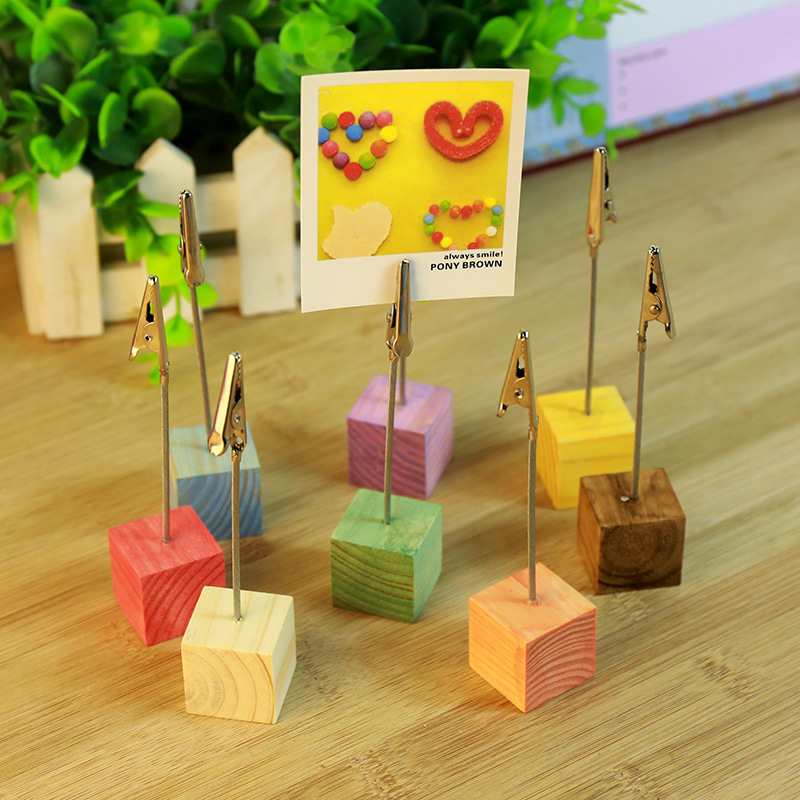1set  (2pcs)  Colorful Cube Stand Wire Desk Card Note Picture Memo Photo Clip Holder Table Wedding Party Place Favor Gift