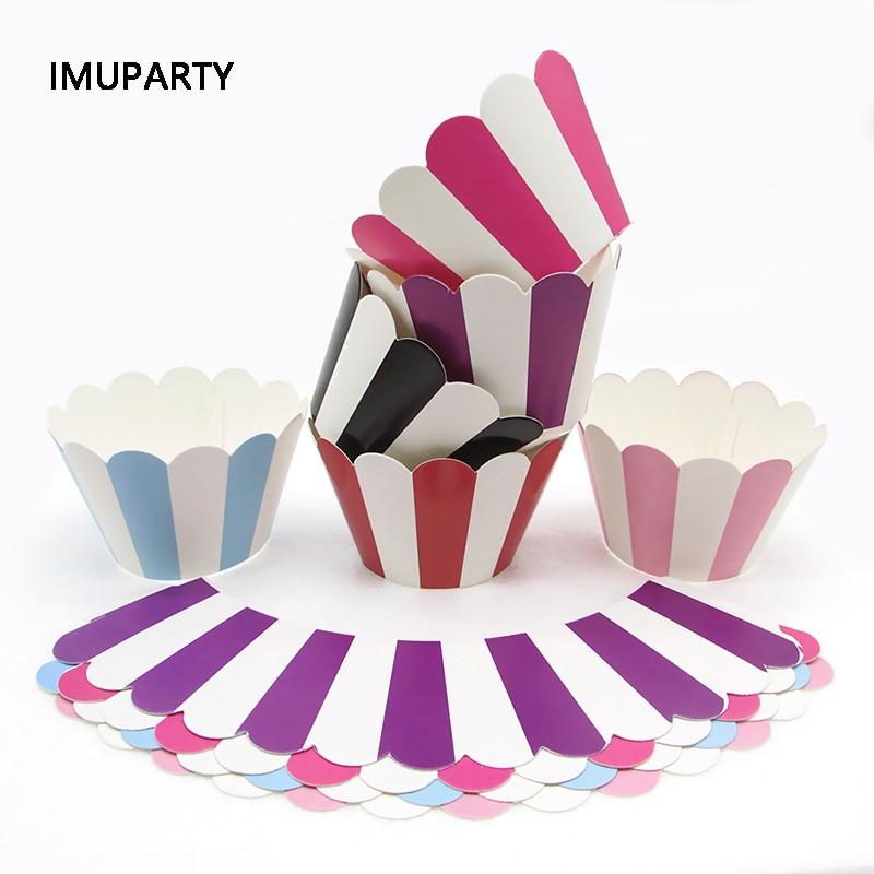 12 шт. полосатая обертка для кексов без торта, Топпер для свадьбы, дня рождения, конфет, аксессуары, украшение, Anniversaire Circle