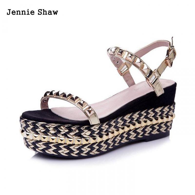 Letnie buty kliny Sandalias wysokie obcasy sandały kobiety złoto kobiet buty w Wysokie obcasy od Buty na AliExpress - 11.11_Double 11Singles' Day 1