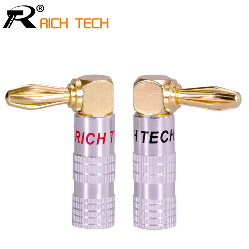 2pcs High Quality 90 Degree Angel 4mm Banana Plug For Video 24K Gold Plated Speaker Copper Adapter Audio Banana Connector 10pcsred 10pcsblack cover gold plated connectors banana musical speaker cable plug durable serrate adapter for 4mm audio cable