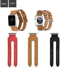 Новый Роскошный НОСО Двойной Пряжкой Натуральная Кожа Смотреть Band для Apple Watch 38 мм/42 мм