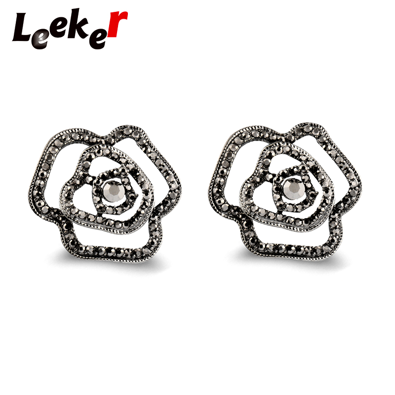 LEEKER Gothic Style Hollow Big Rose Flower Stud Earrings With Black Cubic Zircon Women Vintage Party Wedding Jewelry LK9