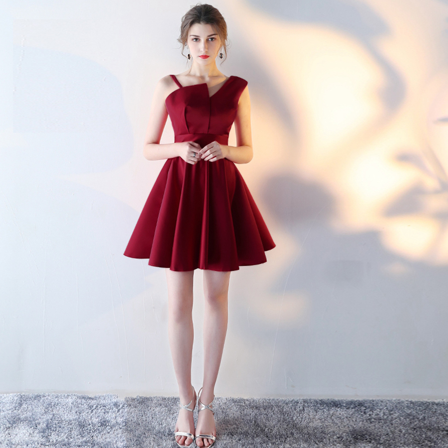 Robe coktail2019 new satin one shoulder A Line burgundy red black champagne ivory cocktail dresses short cheap party dress