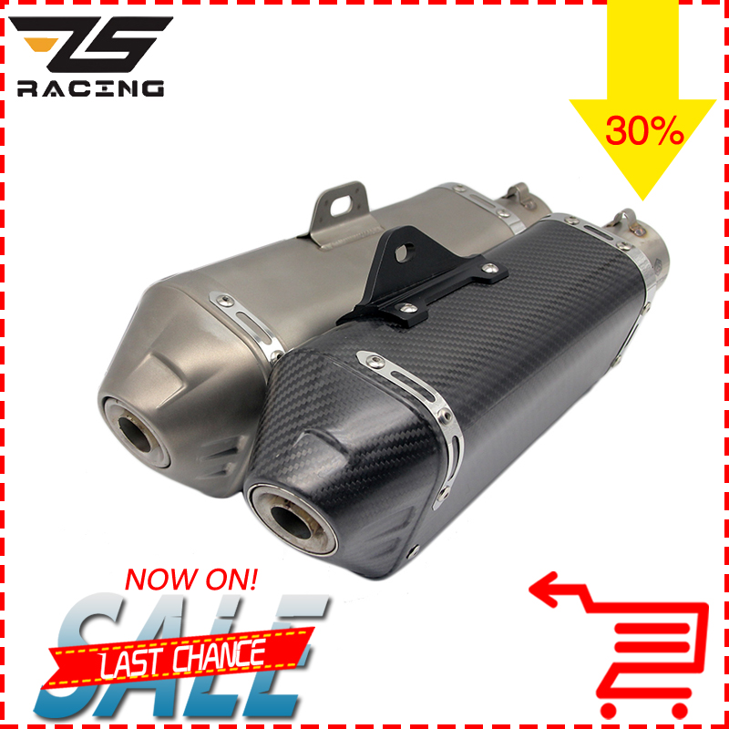 ZS Racing Modified Motorcycle Dirt Bike Exhaust Escape Scooter Exhaust Muffler Fit For Most Motorcycle CB400 YZF MT07 MT09 TMAX bjmoto universal motorcycle exhaust modified scooter akrapovic exhaust muffle fit for most motorcycle