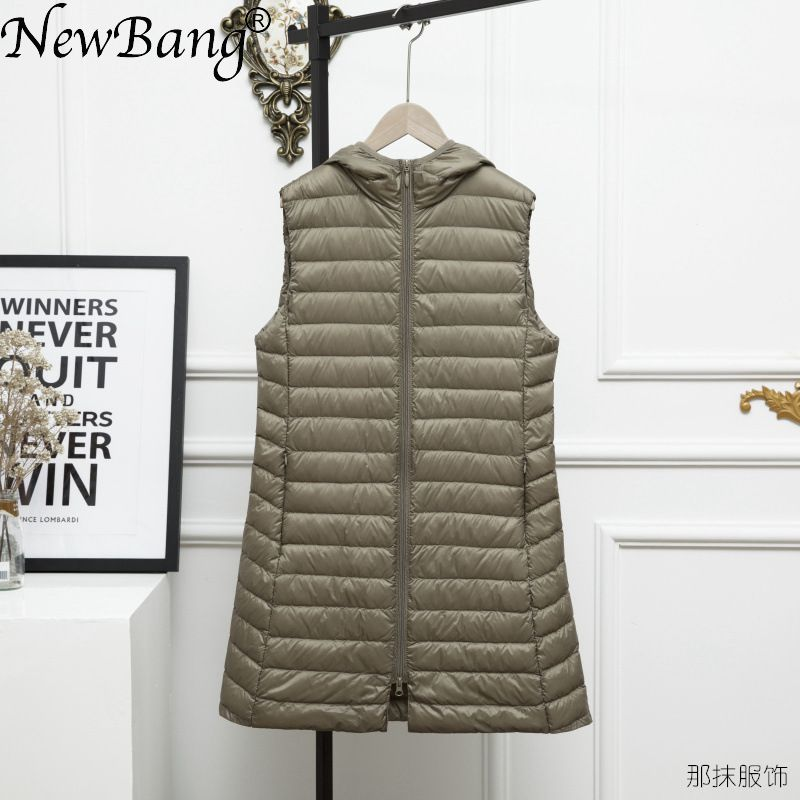 NewBang 3XL Long Vest Women Ultra Light Down Vest Women Hooded Lightweight Waistcoat Female Down Coat Long Slim Sleeveless