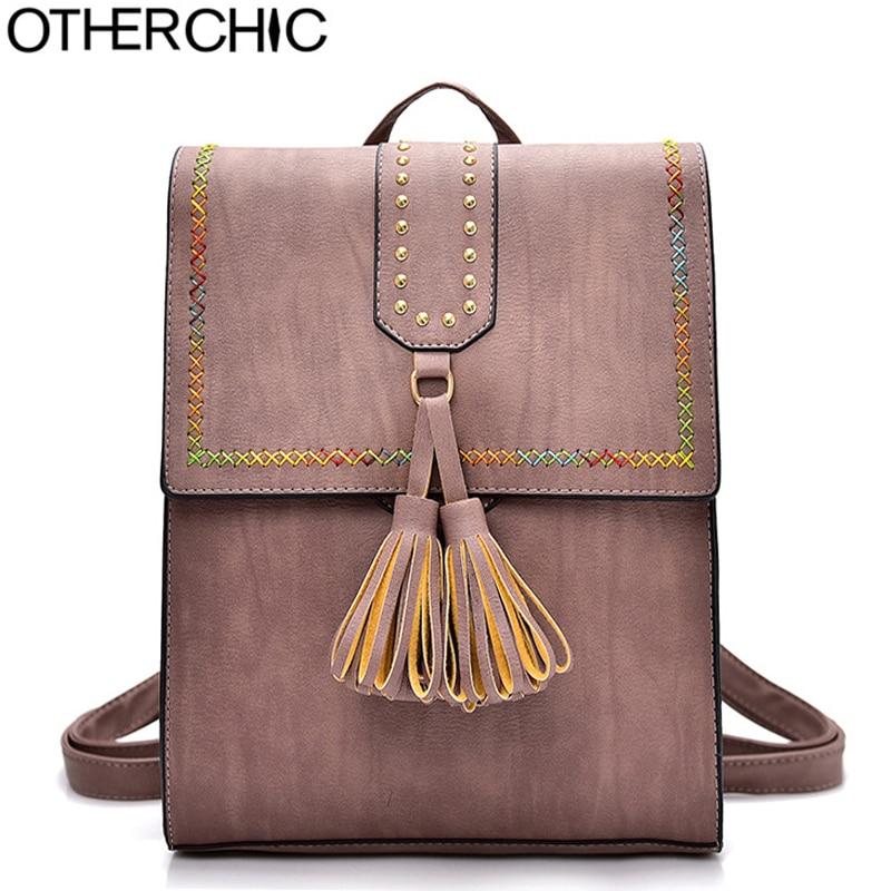 OTHERCHIC Brand Women Tassel Backpacks PU Leather School Bag Travel For Teenage Girls Vintage Fashion Rivet