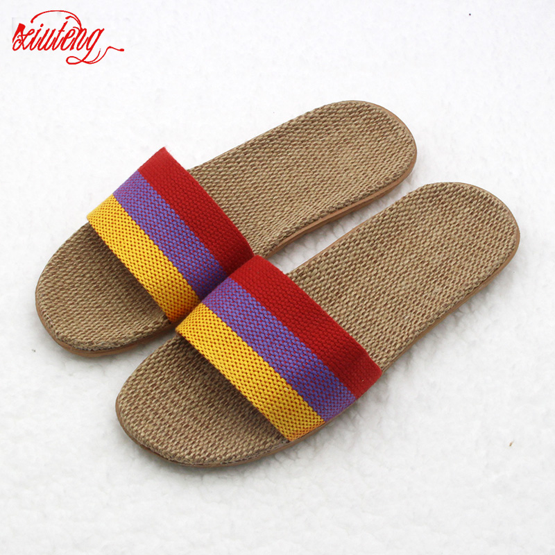 Xiuteng Anti-slip Linen Slipper 2018 Summer Striped Women Indoor Home Shoes Straw Ladies Flat with Flax Bedroom Slippers Zapatos coolsa new summer linen women slippers fabric eva flat non slip slides linen sandals home slipper lovers casual straw beach shoe
