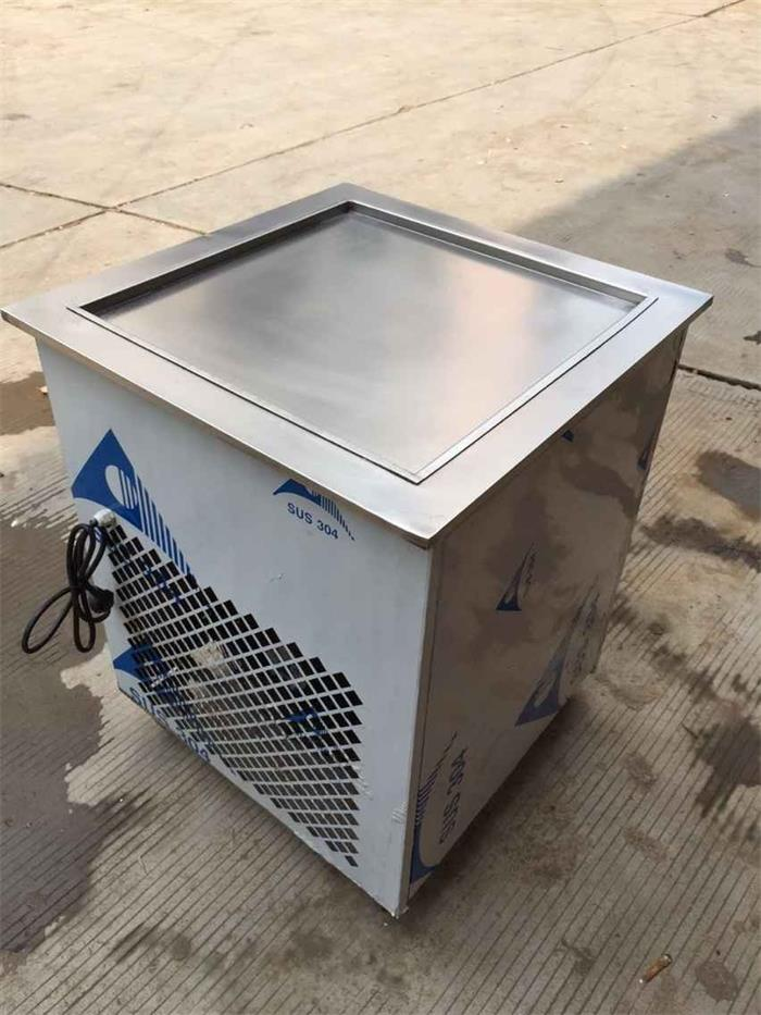 single big square pan commercial flat pan fried ice cream making machine/thailand rolled fried ice cream machine free air ship ce stainless steel fried ice cream machine single pan freezer ice pan machine with defrost for ice cream rolls