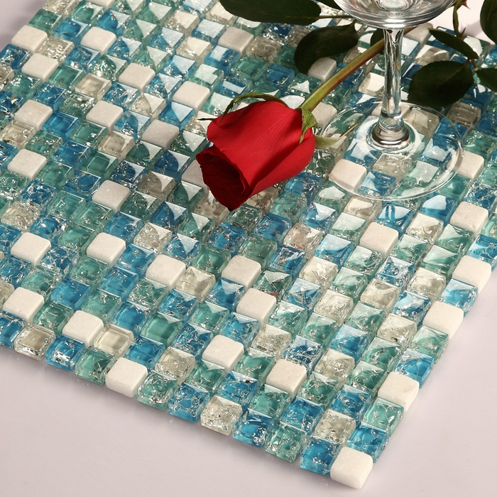 small square ice crackle blue glass mixed white stone mosaic tiles kitchen backsplash tile bathroom shower fireplace hallway