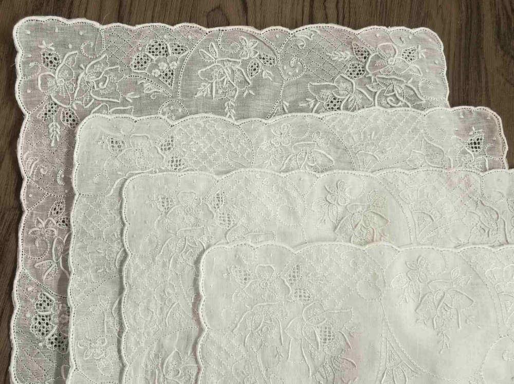 """4 piezas novedad pañuelos de mujer 11,5x11,5 """"pañuelo de lino irlandés bordado Vintage Floral pañuelo para novia regalos"""