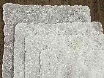 Mouchoirs en lin irlandais brodé Vintage | 4 pièces, 11.5x11.5 , mouchoir Hankies Hanky Floral, pour cadeaux de mariée