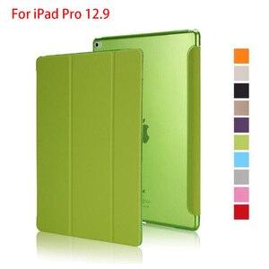 Image 1 - Case Voor Ipad Pro 12.9 2015 2017 Release, pu Leer Tri Fold Staande Hard Back Smart Cover Voor Ipad Pro 12.9 Case 2020 2018