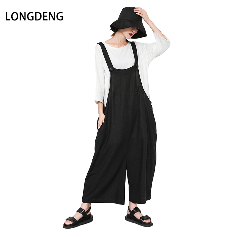[LONGDENG] Plus Size Jumpsuits For Women 2018 Solid Black Streetwear Jumpsuits Woman Rompers Summer Clothes With Pockets 18-5189