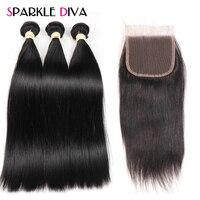 Sparkle Diva Hair Products Brazilian Human Hair Bundles With Closure Free Part 3 Bundles Straight Hair