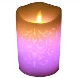 1 sztuk zmiana koloru gradientu świeczki LED pilot zdalnego sterowania elektroniczny bezpłomieniowe oddychania świeca lampki nocne ślub Party Decorat