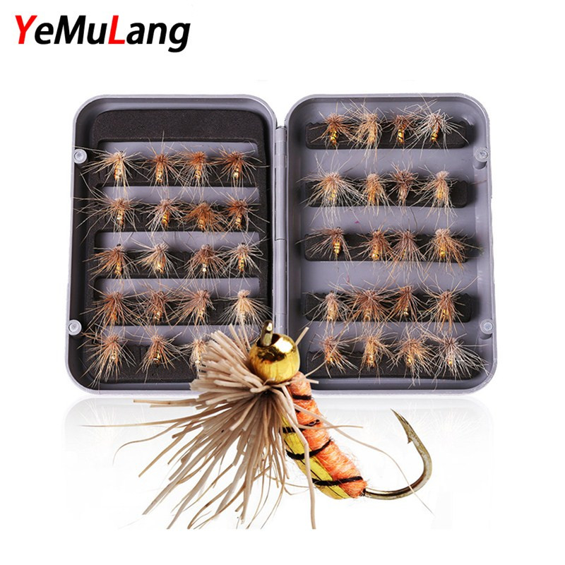 YeMuLang 40piece Fly Fishing Lure Dry and Wet Hard Bait Simulation Moth Insect With Feather Fishing Hook Tackle For Fishing Box philips brl130 satinshave advanced wet and dry electric shaver