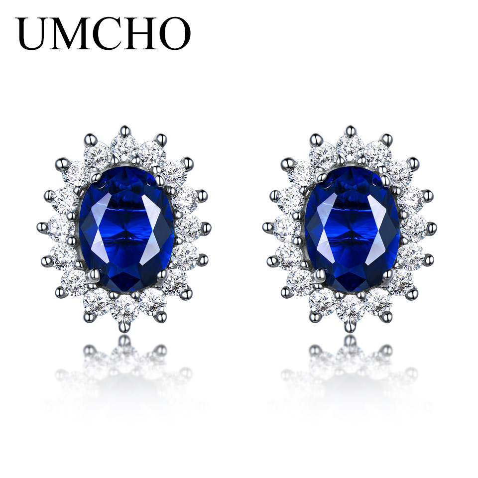 UMCHO Luxury 925 sterling silver earrings 6*8mm Created Blue Sapphire Wedding Party Jewelry Brand Fine Jewelry Earrings For Wome new luxury brand fine exquisite sunshine full of small earrings for women circle wedding party earrings fashion jewelry
