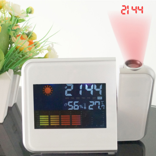 Color Screen Digital Alarm Clocks Desktop Clock Multi Function Weather Calendar Time Projection 1 Pcs Time Watch