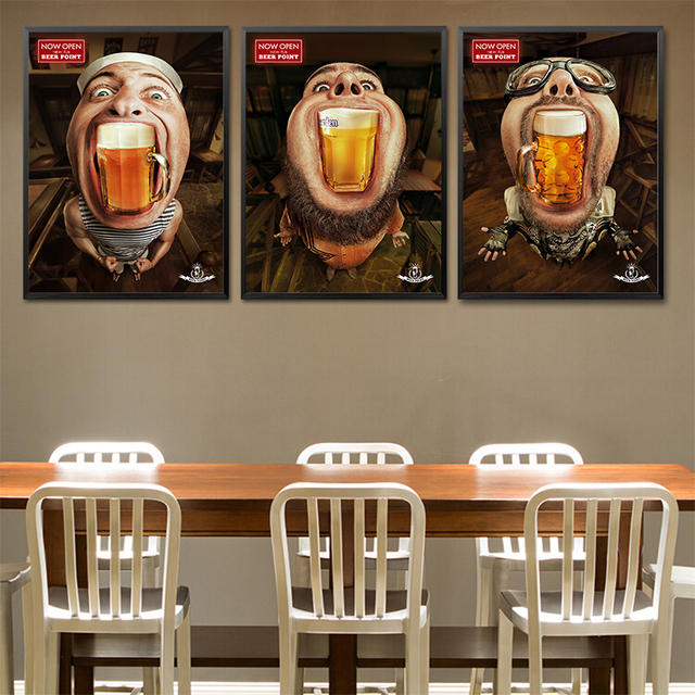 Poster Beer Bar Creative Man Print Painting Coffee House Modern Wall  Decoration for Diningroom Modern Big Mouse Pitures Quote-in Painting &