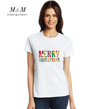 New Arrive Tide Brand Funny Tshirt Women Christmas Eve Letters Printed Tees White Cotton Short Sleeve Casual Tops Plus Size 3XL