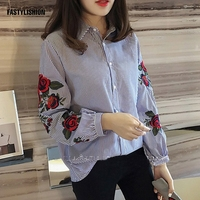 Big Sale Striped Blouse Autumn Fashion Embroidered Blouse Suitable All Match Wear Blouses Shirt Lapel Long