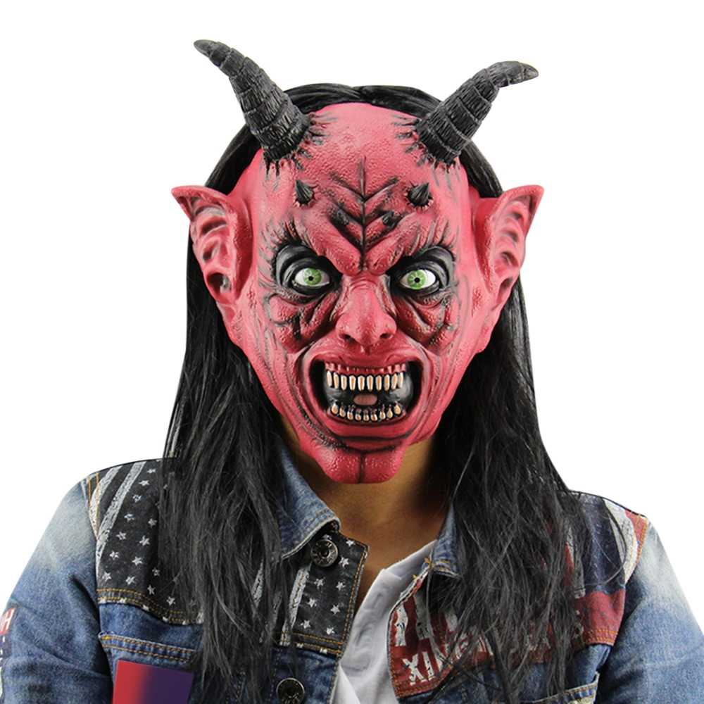 جديد وصول هالوين قناع شعر مستعار Ox القرن الرعب مضحك الشيطان الشيطان أقنعة اللاتكس ل هالوين حفلة تنكرية بار الساخن بيع