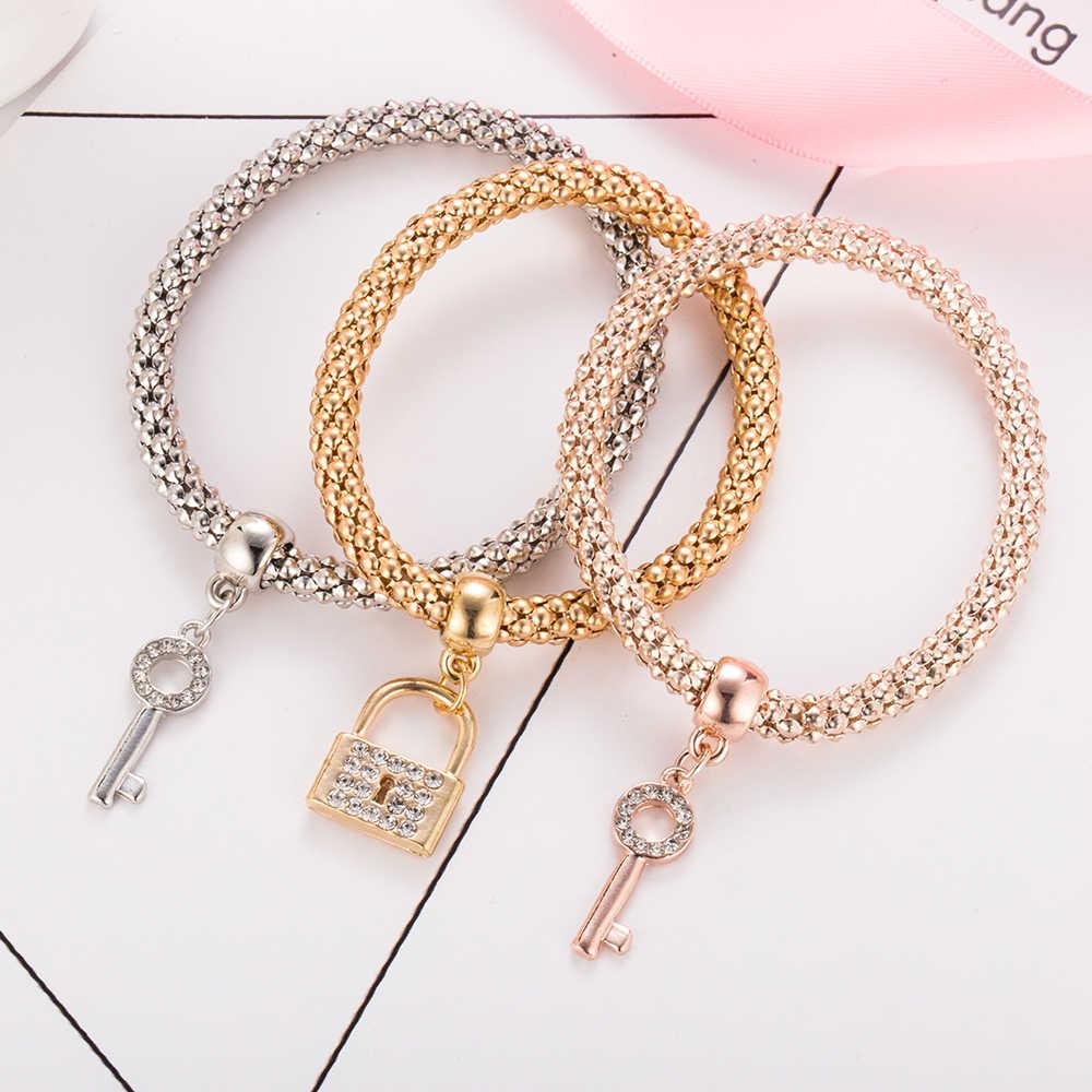 3Pc Hot Koop Fashion Persoonlijkheid Lock & Key Vorm Armband Alle-Match Glamorous Gold Verzilverd Strass Legering hanger