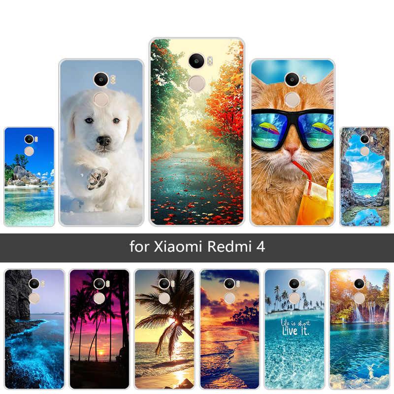 5.0 นิ้วสำหรับ Xiaomi Redmi 4 ฉากโทรศัพท์มือถือใส TPU ซิลิโคนซิลิโคนสำหรับ Xiaomi Redmi 4 Redmi4 กลับสีดำฝาครอบโทรศัพท์ Capa