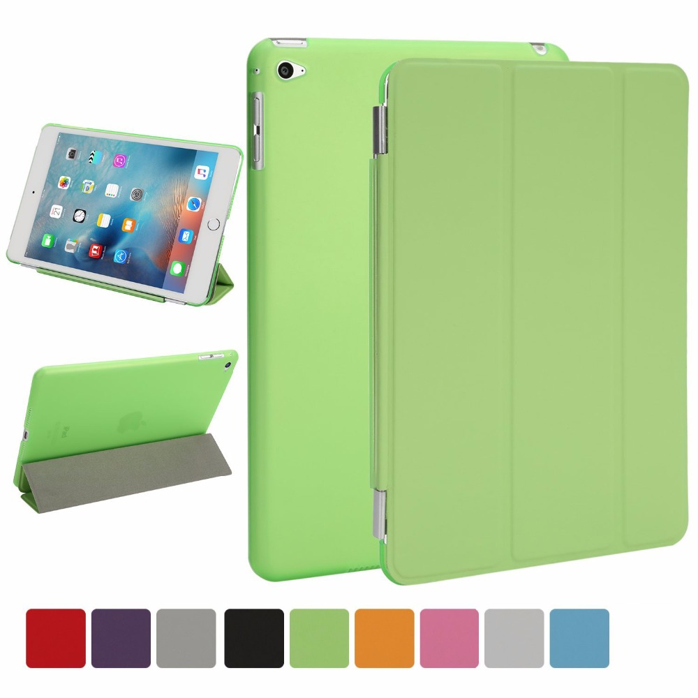 For iPad Mini 4 7.9Ultra Slim Smart Cover Case 3 Folding Stand Auto Sleep/Wake w/ Matte Back Cover for Apple iPad 4