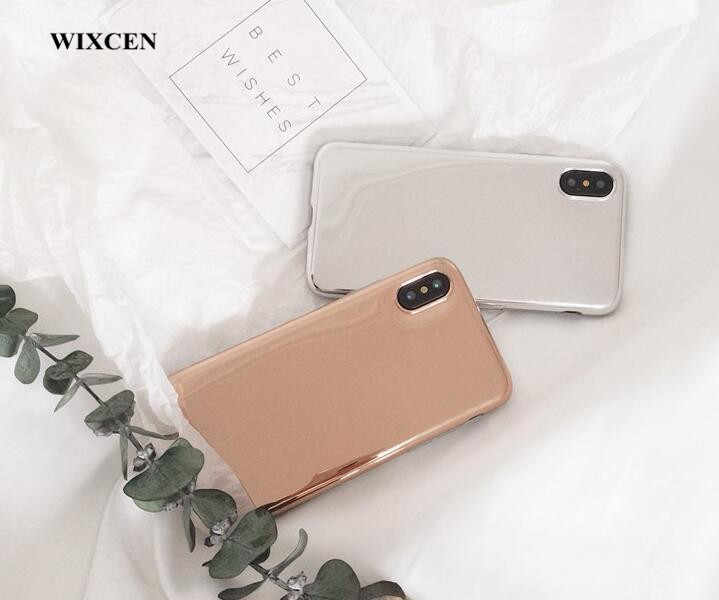 Wixcen Luxury Rose Gold Plating Mirror Phone Case Soft Tpu Case for IPhone 7 7plus 6 6s 8 X lovers Anti-knock Glitter Case Cover