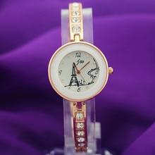 Alloy metallic bracelet band with massive diamond deco,spherical gold case,effeil tower imprint dial,JW vogue lady woman quartz watches