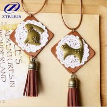 Creative Original Japanese Zakka Handmade Jewelry Lace Animal Three Style High-quality Sweater Chain Pendant Necklaces D111
