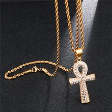 HIP Hop Iced Out Bling Cross Full Rhinestone Ankh Pendants & Necklaces For Men Jewelry Key of Life Pendant Link Chain Necklace