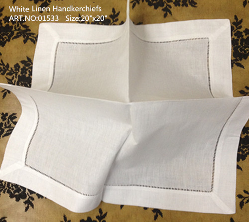 Set Of 12 Handkerchiefs 20-inch White Hemstitched Linen Table Napkins Dinner Napkins Perfect Hankies Hanky For Special Occasions