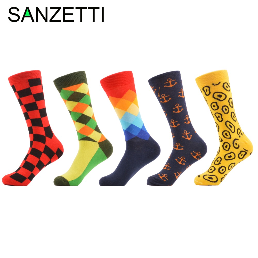 SANZETTI 5 pairs/lot Mens Colorful Dress Funny Socks Combed Cotton Argyle Anchor Yellow Casual Socks Happy Socks US 7.5-12