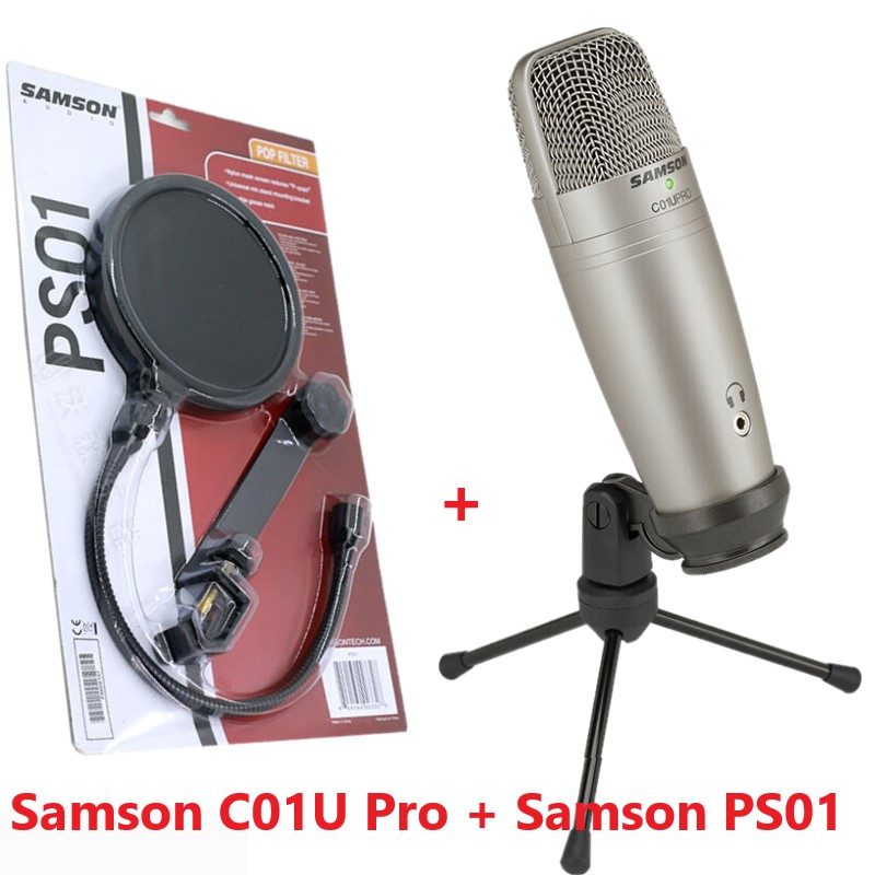 USB studio condenser microphone Samson C01U Pro with PS01 Mic Pop Filter screen nylon mesh screen