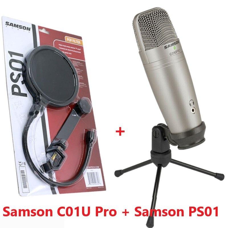 Micro à condensateur USB studio Samson C01U Pro avec écran de filtre Pop PS01 micro écran de maille en nylon pour réduire les plosives vocales-in Microphones from Electronique    1