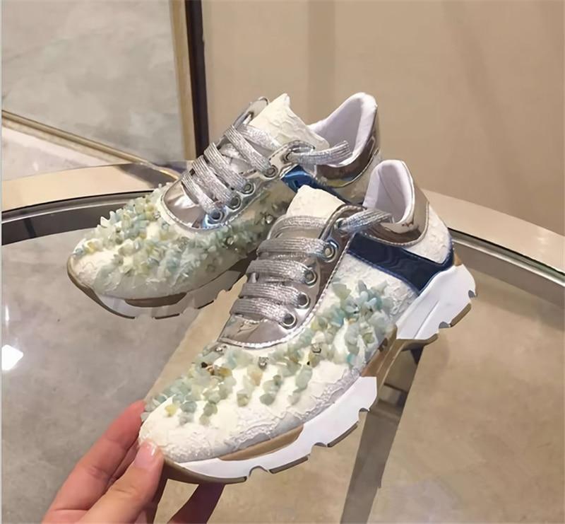 Punta Cordones Redonda 40 Zapatillas claro azul De Diseñador azul As Para Malla Zapatos 2018 Cielo Casual Cristal Lujo marrón Show Cuero Cómodos Mujer Cordón Con Snerkers negro CwZga8