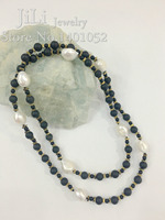 Brief Style Frosted Black Agate Gold Hematite With Irregular Shape Freshwater Pearl Necklace About 84cm Free