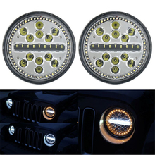 7inch LED Halo Headlights 7 Headlight H4 Hi/low Auto White & Yellow Turn Amber halo Ring Signal For Jeep Puch Kenworth