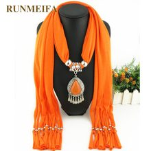 RUNMEIFA New Polyester Ceramic Beads Jewelry Necklace Solid Color Scarf With Water Alloy Pendant Tassel Scarf 180*40cm(China)