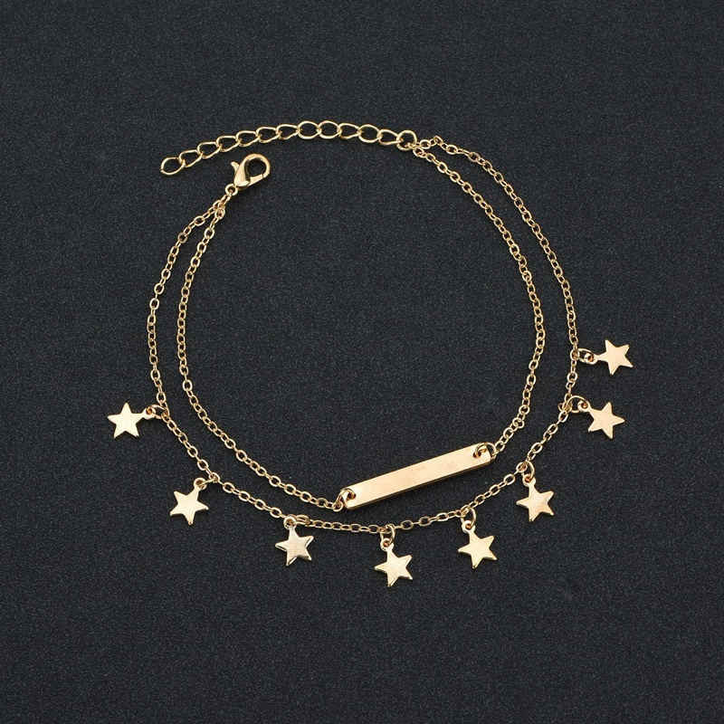 New Female Anklets Barefoot Sandals Foot Jewelry Leg Anklets Bar Star Pendant Beach Ankle Bracelets For Women Leg Chain Jewelry