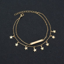 New Female Anklets Barefoot Sandals Foot Jewelry Leg Anklets Bar Star Pendant Beach Ankle Bracelets For Women Leg Chain Jewelry pendant anklets barefoot sandals beads indian gold silver beads sequins anklets bracelet for women jewelry foot chain anklets