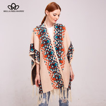 Bella Philosophy 2019 women autumn winter tribal ethnic knitting cardigan sweater warm shawl Fashion streetwear poncho cape(China)