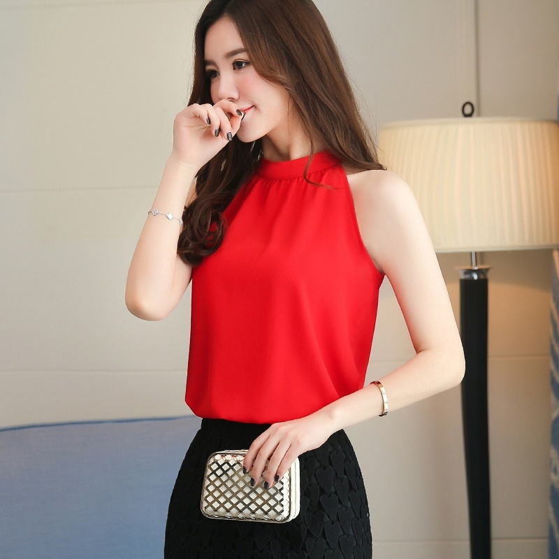 Blouse Women 2019 Summer Casual Shirt Fashion Solid Color Round Neck Sleeveless Chiffon Shirt Blusa in Blouses amp Shirts from Women 39 s Clothing