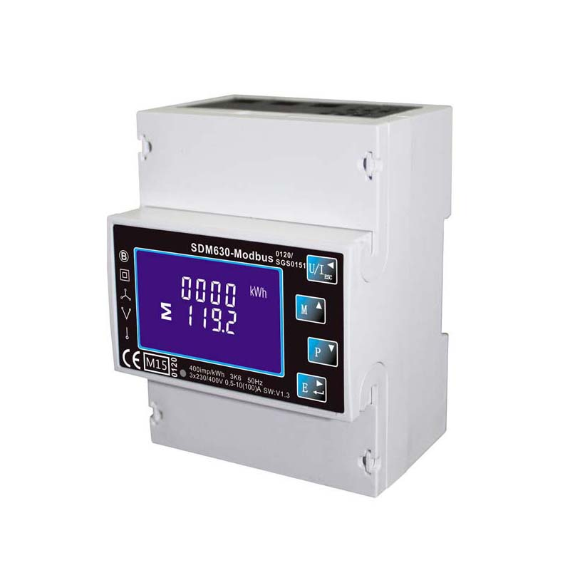 Single/Three Phase Multi Function Din Rail Digital Energy <font><b>Meter</b></font> , Kwh <font><b>Electricity</b></font> <font><b>Meter</b></font> With RS485 Modbus Output SDM630 Modbus image