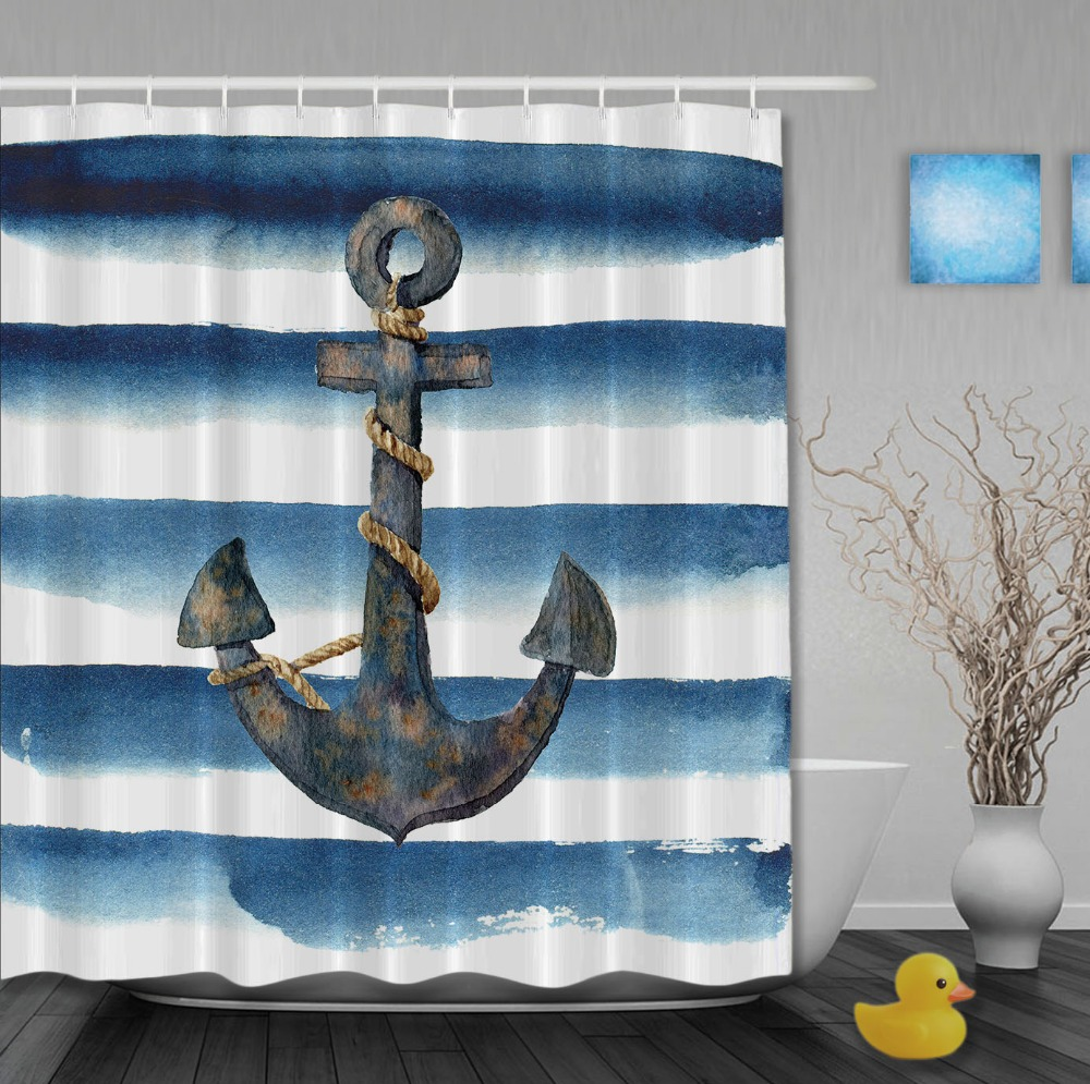 Rustic Anchor On Navy Blue And White Stripes Morden Shower