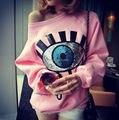 Новый горячая распродажа зимняя эксклюзивный пользовательский сексуальная глаза вспышка чип без бретелек с блестками воротник широкий свободного покроя пуловер бесплатная доставка