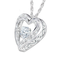 Elegant Classic Pendant Necklace 925 Sterling Silver White Gold Plated Simulated Diamond Heart Shape Pendant With