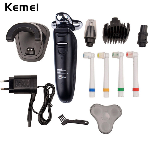 Kemei Portable Professional Various Electric shaver for Men Shaver IPX6 Washable Rechargeable  Nose Trimmer 4 Toothbrush Head